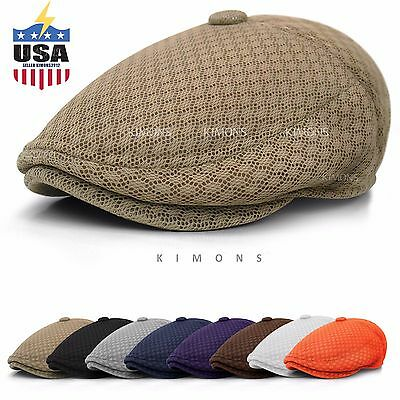 82a350a2d3bc3 Button Mesh Newsboy Gatsby Cap Mens Ivy Hat Golf Driving Summer Sun Flat  Cabbie