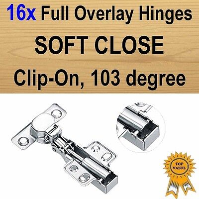 16xDoor Kitchen Cabinet Cupboard Soft Close Full Overlay Hinges