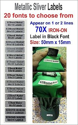 70x Metallic Silver label Black Front Iron On School Name Labels Tags Printed