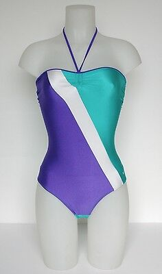 Vintage Swimsuit- Purple and green halter-neck lycra swimsuit - UK 8
