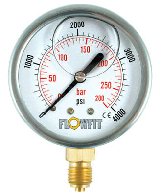 63mm Hydraulic Pressure Gauge Base Entry 0-10000 PSI-Free Uk Delivery