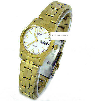 CITIZEN QUARTZ JAPAN LADY WATCH  YELLOW STAINLESS STEEL EQ0542-60A NEW AUTHENTIC