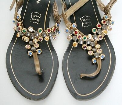 UK 3 Vintage shoes - Sparkly leather thong sandals