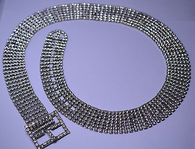 VINTAGE HEAVY 1 1/8 INCH WIDE 7 ROW RHINESTONE BELT FITS FROM 28 to 33.25 INCHES