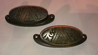 1930's VINTAGE TWO 2 ART DECO BRONZE CABINET DRAWER DRESSER PULLS KNOBS HANDLES