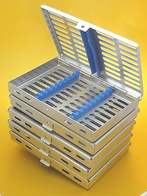 Set of 5 Dental Surgical Sterilization Cassette Tray Rack for10 Instruments  New