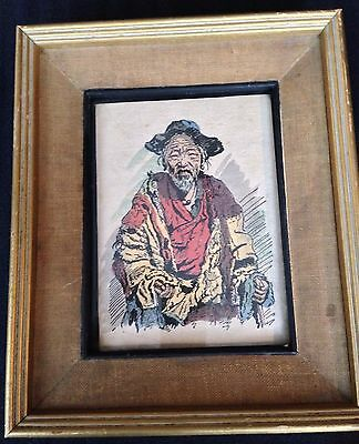 Antique Old Man of Tibet print on handmade paper, Inscribed, Very Unusual, Rare
