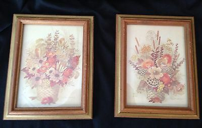 Beautiful Pair Mid Century Modern Vintage Floral Pictures Framed 8 X 9""