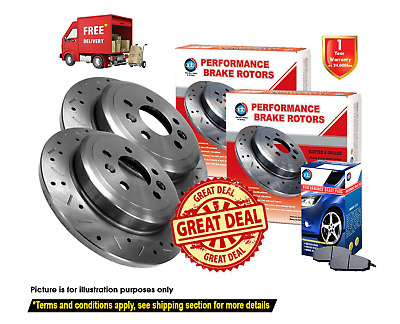 HOLDEN Commodore VT VU VX VY VZ SLOTTED&DRILLED REAR Dics Rotors (2) & Pads (1)