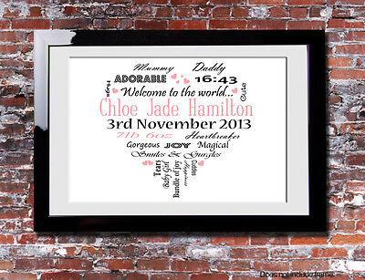 Personalised Newborn Baby Girl Typography Picture Print Gift Canvas Wall WordArt