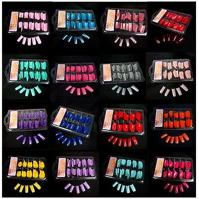 New 100 PCS False Acrylic Gel French Full Nail Art Tips Salon - Color Choose