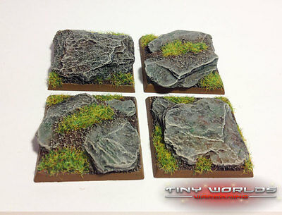 Wargames 4 x 40mm Square Rocky Slate Monster Resin Bases
