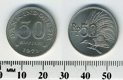 Indonesia 1971 - 50 Rupiah Copper-Nickel Coin - Greater Bird of Paradise