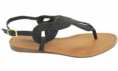 WHOLESALE LOT 24 prs Ladies Braided Gladiator Flat Sandal T-Strap-8016Black(5-10