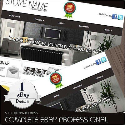 eBay Store Design Template package with listing Template Black/Grey any choice