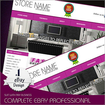 eBay Store Design Template package with listing Template Choice of color Dynamic