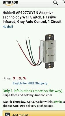 Hubbell motion sensor switch AP1277GY1N