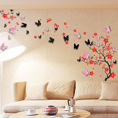 Wall Sticker Mural Decal Paper Art Decoration Blossom Flower 3D Butterfly Family