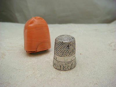 Thimble Sterling Silver Celluloid House Chased Vintage Antique Original Case