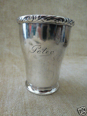 Danish silver beaker cup Maker MOINICHEN Assay Mark Heise Three Tower Mark 1916