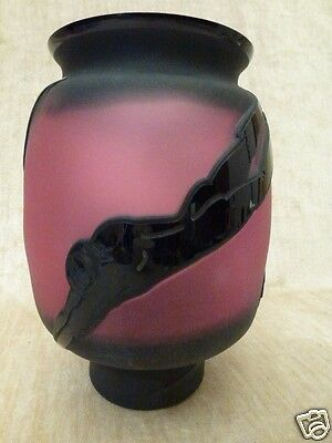Pilgrim Cameo Glass Vase nude swimmers Black Crystal Cranberry Kelsey Murphy