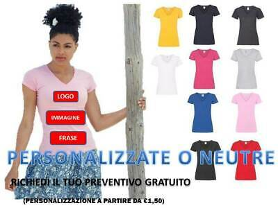 T-Shirt Lady-Fit Fruit Of The Loom Collo V Manica Corta Maglietta Donna Cotone