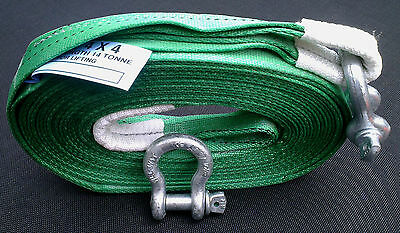 NEW 4x4 RECOVERY WINCH/TOW STRAP 7M TREE STROP 14 TON & 2x 3.25T TESTED SHACKLES