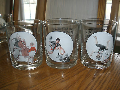 Set of 3 Norman Rockwell Saturday Evening Post Glasses- Vacation / Clothes /Mind