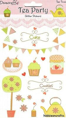 Dovecraft Glitter Stickers - Tea Party  Dcst006 - Cakes Cupcakes - Tea Time