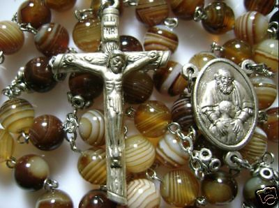 *Rare Natural Carnelian Agate ROSE BEADS ROSARY & CROSS Catholic necklace