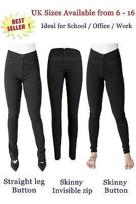 New Black Skinny Stretch Trousers Girls Ladies Women School Office Sizes 4 -18