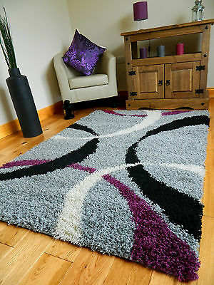 Small Xx Large Purple Silver Thick Soft Quality Shaggy Pile  Area Rug Cheap Mat