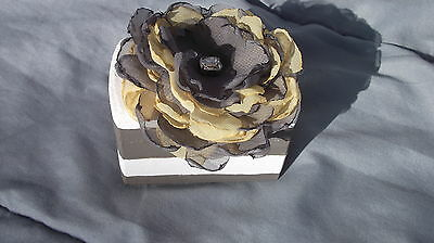Gray and White Striped Nautical Wedding Ring Bearers Box With Organza Flower
