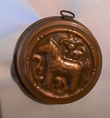 Vintage Horse Mold Copper Tin~Lined Jello Cake Butter Made In Sweden