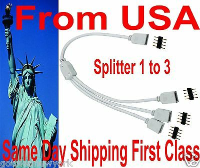 4 Pin Splitter 1 to 3 Connector Female Cable extension LED RGB Strip Light RGB