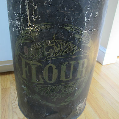 "Vintage Black Metal Flour Can.Turn of the Century.Large Storage container.27""tal"