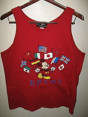 Walt Disney Epcot Center Florida USA Theme Park Mickey Mouse 1990's Tank Top XLg