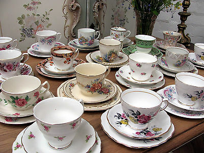 GORGEOUS SELECTION OF VINTAGE TRIO'S - CUP, SAUCER & TEA PLATE - SHABBY CHIC