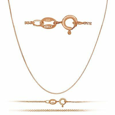 Rose Gold Plated Sterling Silver 1mm Box Chain w/spring ring - ALL LENGTHS
