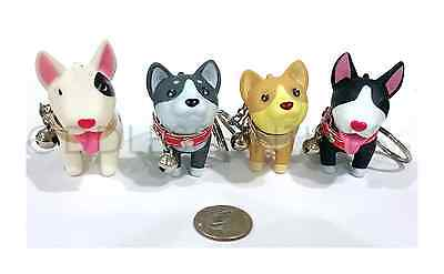 Adorable Cute Dog Puppy Husky Terrier Key Chain Ring Toy Figurine With Collar