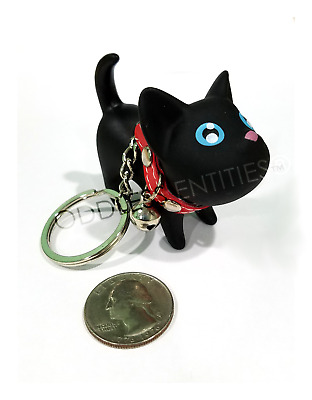 Plastic Resin Kitty Cat Kitten Key Chain Ring Toy Figurine With Collar & Bell