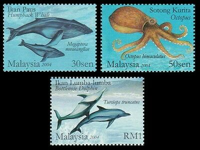 Marine Life Series VI  Malaysia 2004 Whale Dolphin Octopus Underwater (stamp MNH