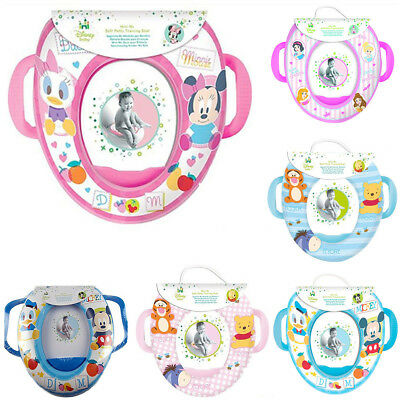 DISNEY Soft Padded Potty Seat Kid's Baby Toilet Seat Cover Training with Handles