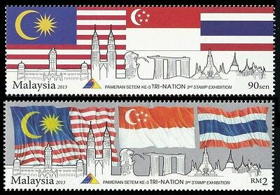 Malaysia Singapore Thailand 3rd Exhibition Tri-nation 2013 Flag (stamp) MNH