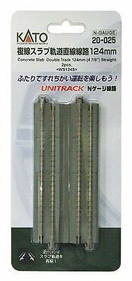 """Kato N Scale Concrete Slab Double Straight Track 124mm 4 7/8"""" (2 pc) NEW 20-025"""