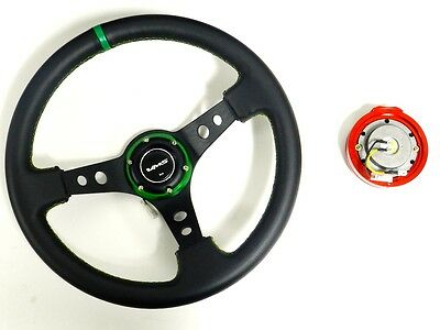 VMS RACING UNIVERSAL GREEN STEERING WHEEL & RED QUICK RELEASE KIT D