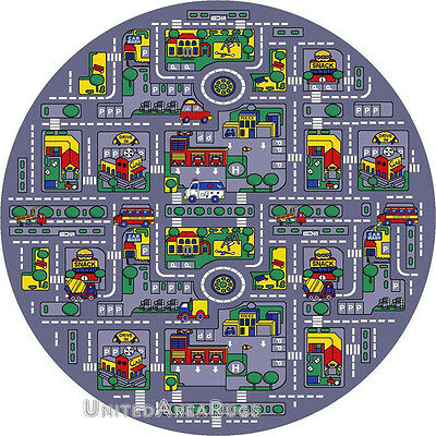 """8x8 Round Play Road Driving Time Street Car Kids City Map Fun Time Size 7'7"""" New"""
