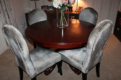 Contemporary ROUND Pedestal Dining Table Mahogany Wood Laura Ashley 1