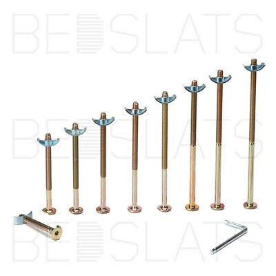 M6 x 90mm connector bolts with half moon nut ideal for beds, cots & furniture
