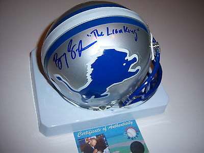 Barry Sanders Detroit Lions,the Lion King,hof Schwartz/coa Signed Mini Helmet